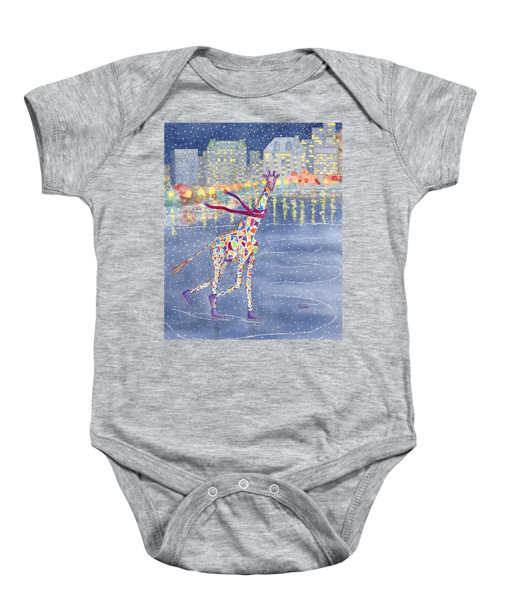 Giraffe Baby Onesie featuring the painting Annabelle On Ice by Rhonda Leonard