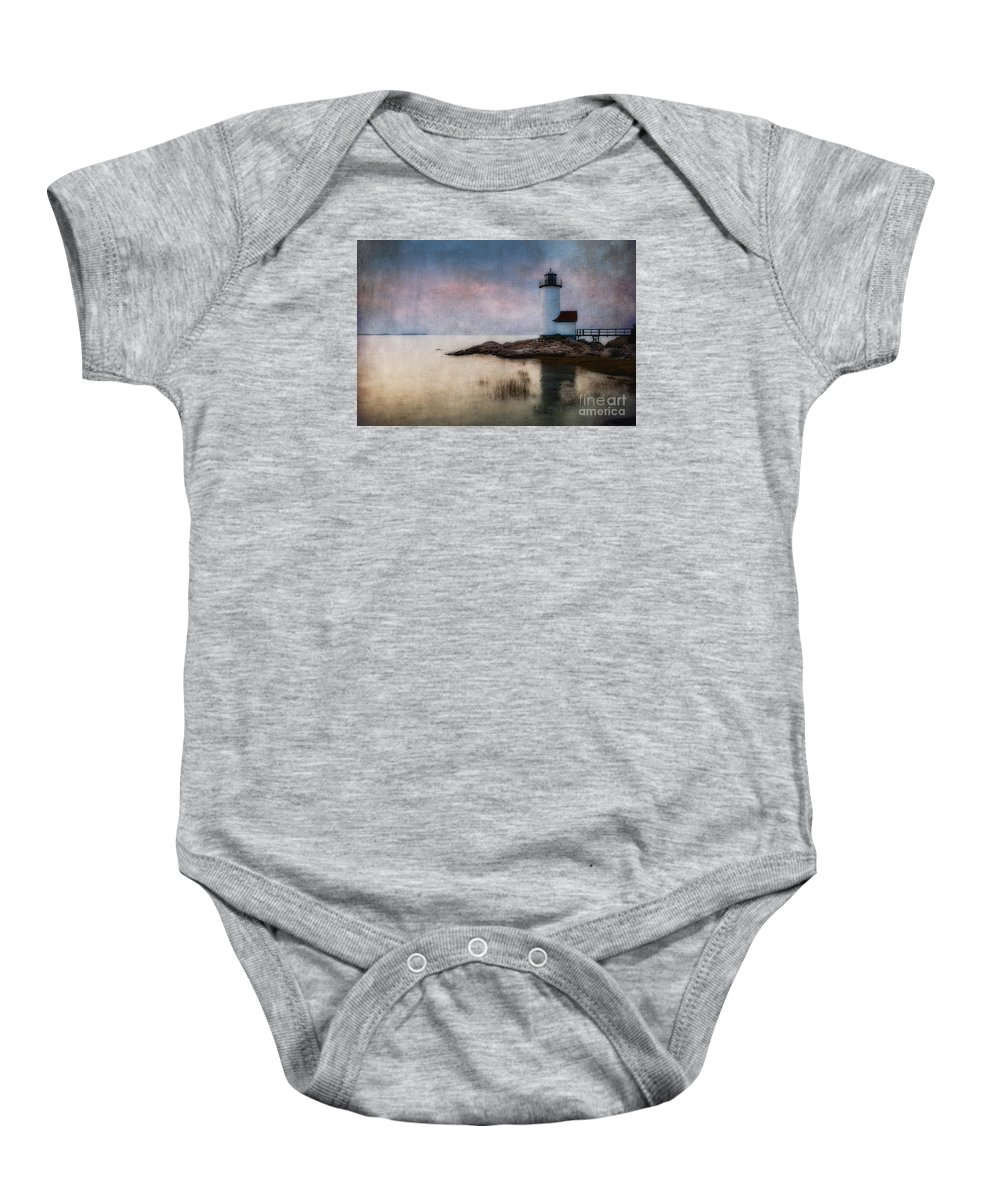 Annisquam Baby Onesie featuring the photograph Annisquam Harbor Lighthouse by Jerry Fornarotto