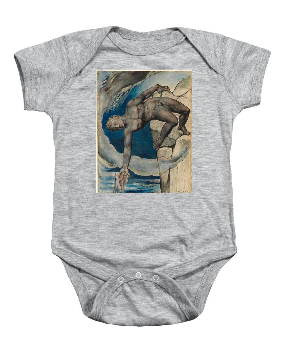 William Blake Baby Onesie featuring the painting Antaeus Setting Down Dante And Virgil In The Last Circle Of Hell by William Blake
