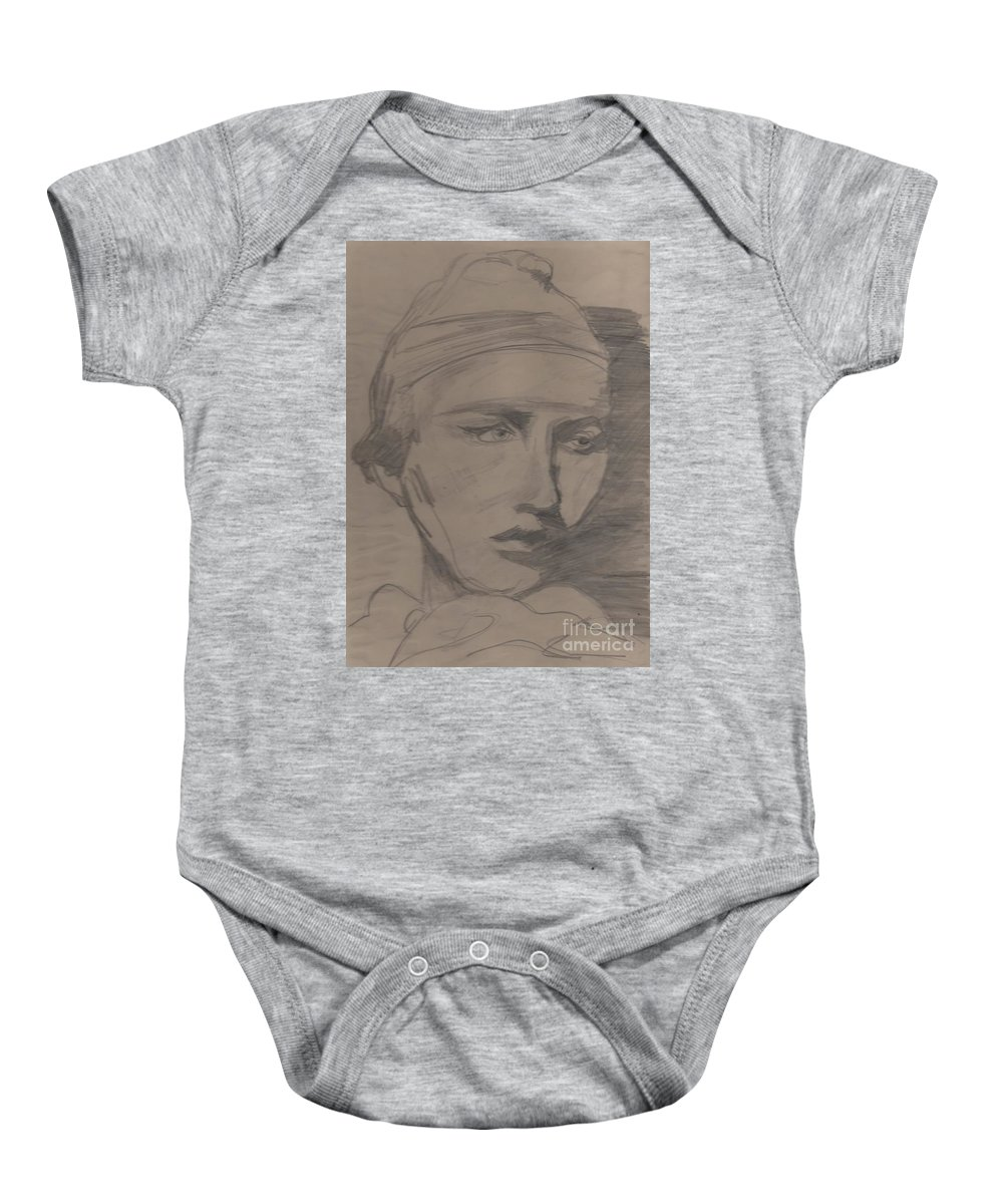 Portrait Baby Onesie featuring the drawing Antigone By Jrr by First Star Art