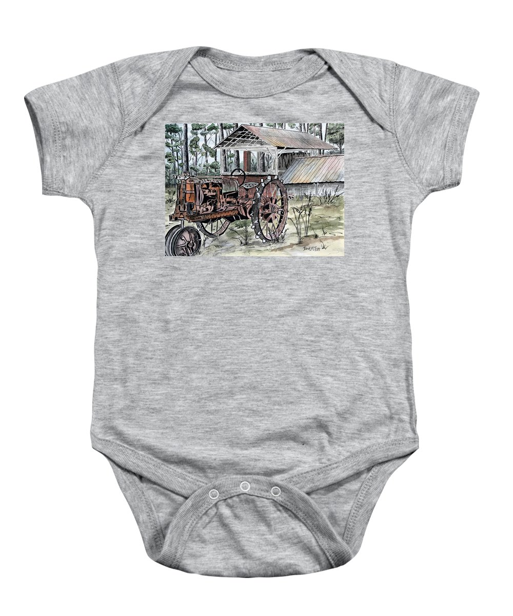 Tractor Baby Onesie featuring the painting Antique Farm Tractor  by Derek Mccrea