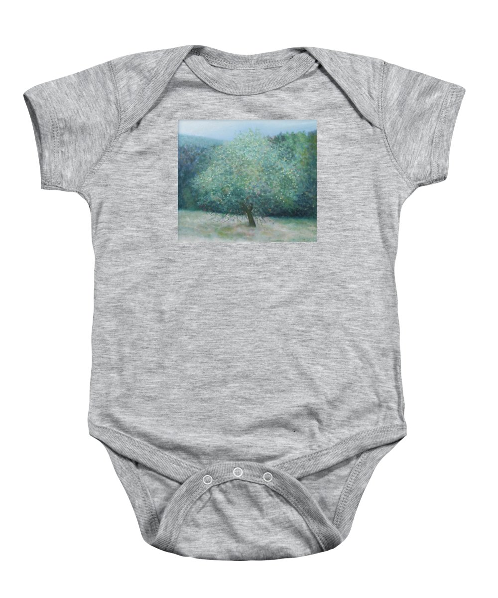 Landscape Baby Onesie featuring the painting Apple Tree by Muntean Floare