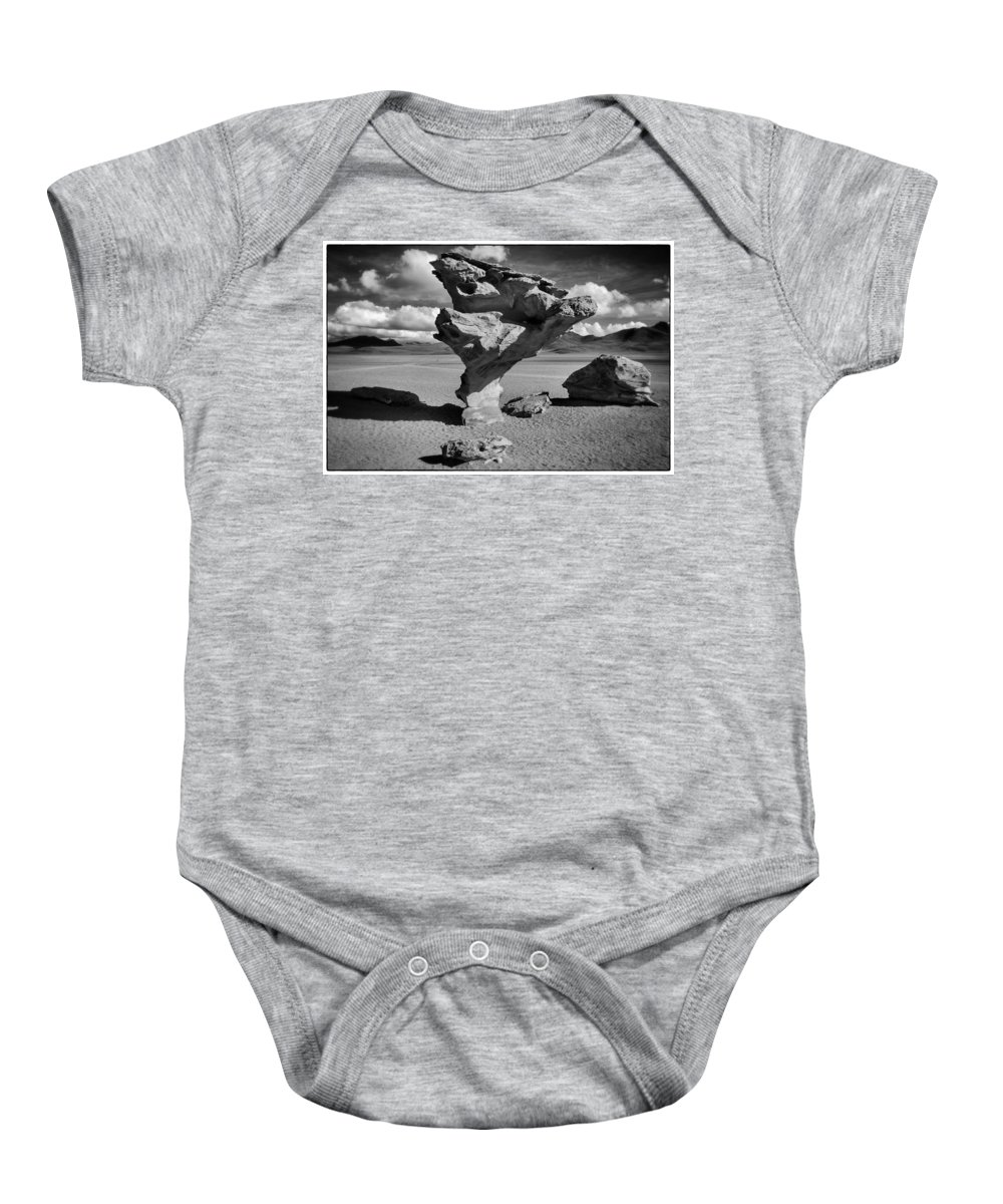 Árbol De Piedra Baby Onesie featuring the photograph Arbol De Piedra Black And White Framed by For Ninety One Days