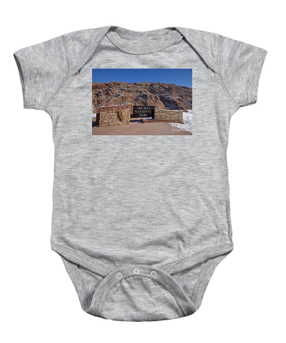 Arches Baby Onesie featuring the photograph Arches National Park Utah by Jason O Watson