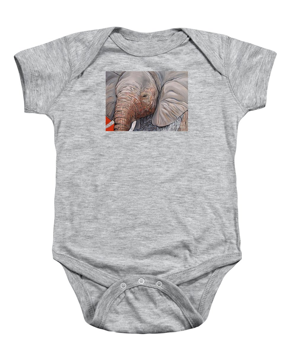 Elephant Bull Painting Baby Onesie featuring the painting Are You There by Aimee Vance