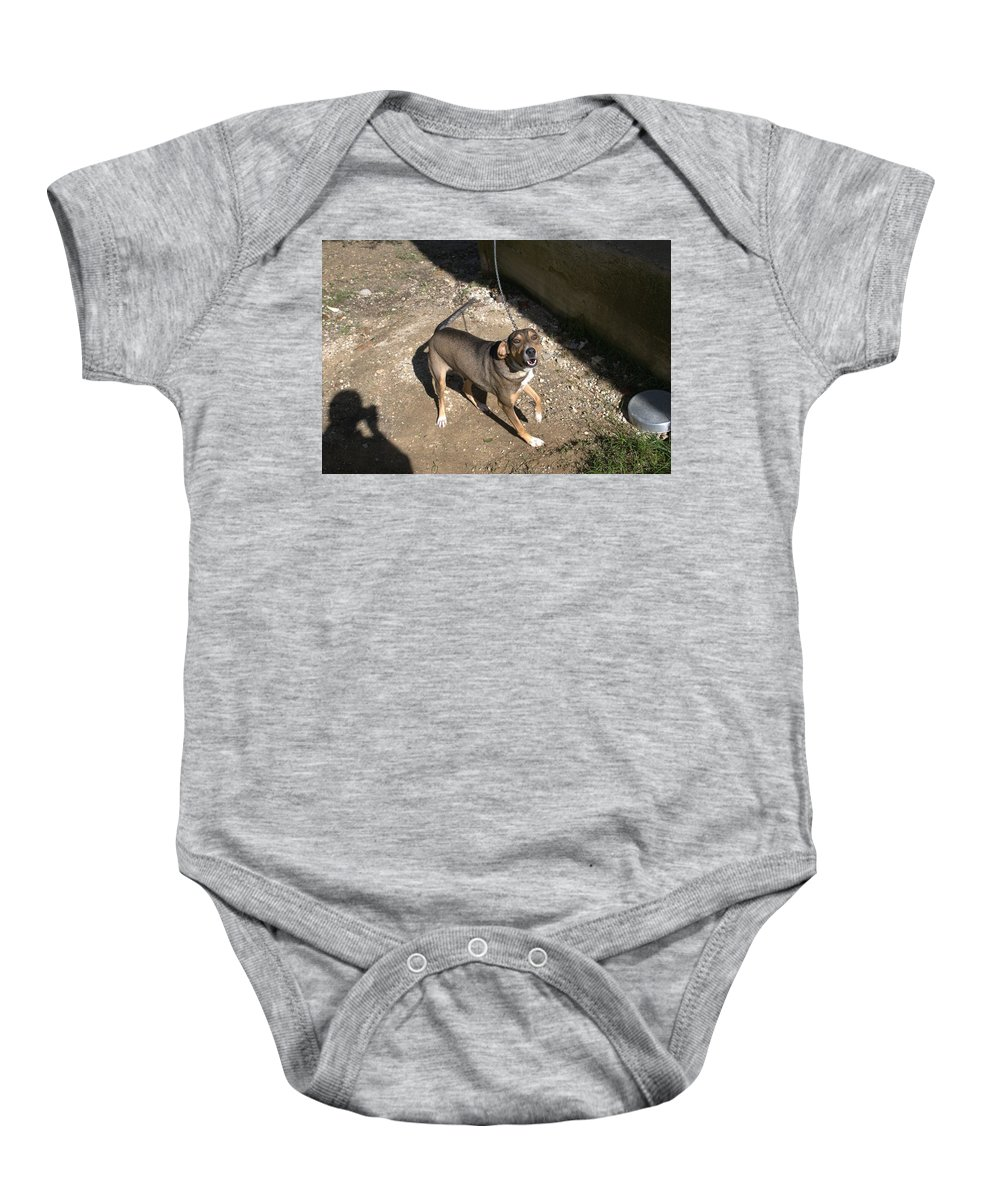Argh Baby Onesie featuring the photograph Argh by George Katechis