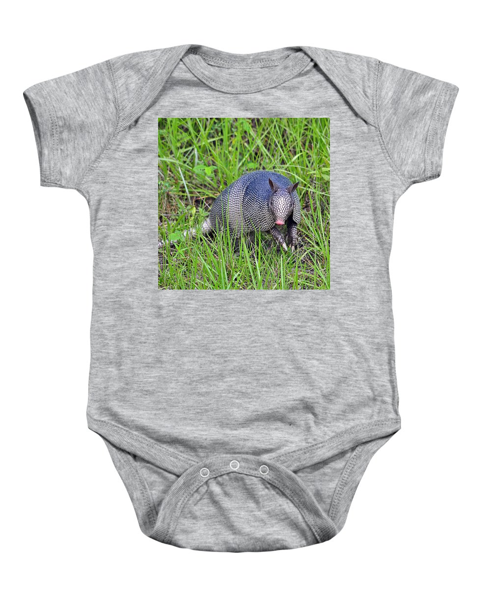 Armadillo Baby Onesie featuring the photograph Armadillo Attitude by Al Powell Photography USA