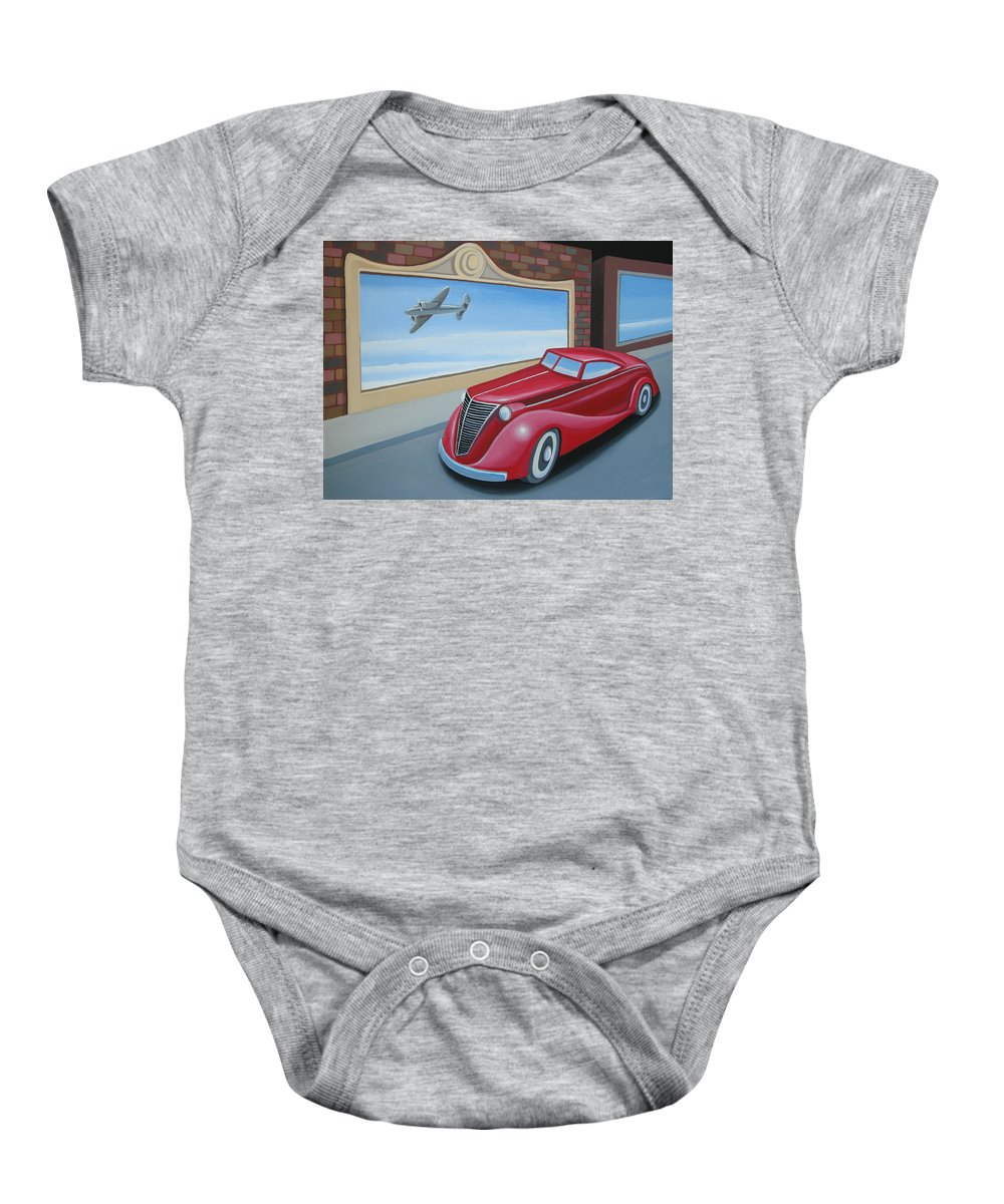 Automotive Baby Onesie featuring the painting Art Deco Coupe by Stuart Swartz