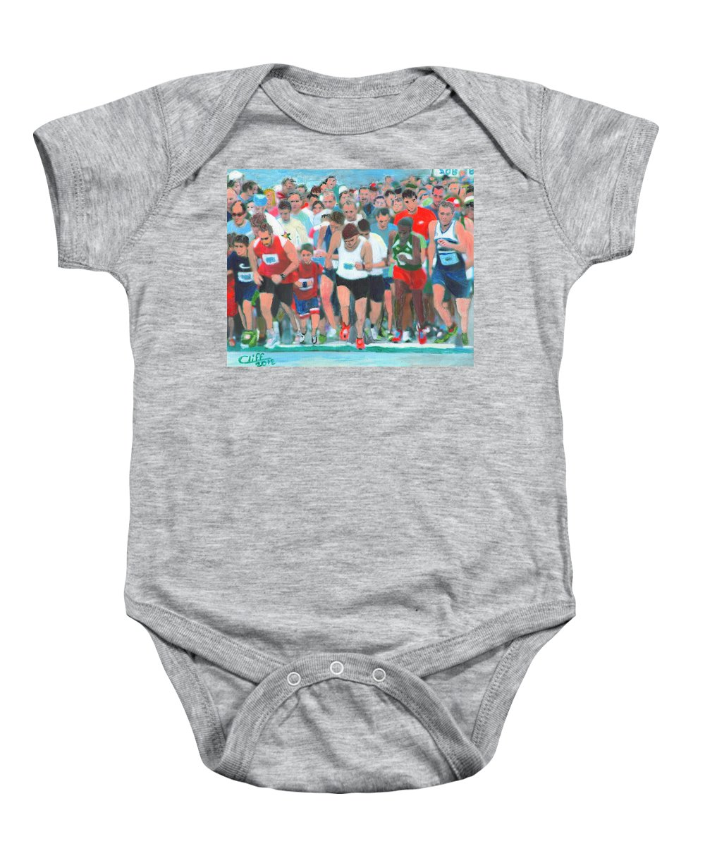 Painting Baby Onesie featuring the painting Ashland Half Marathon by Cliff Wilson