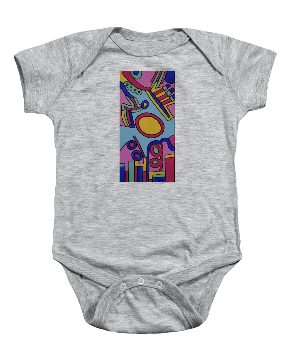 Aspen Baby Onesie featuring the painting Aspen Carnival by Jeff Gater