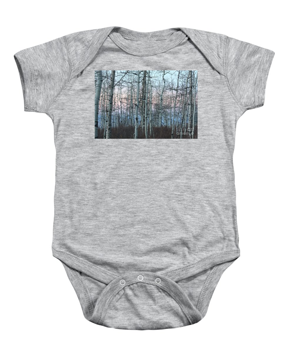Aspens Baby Onesie featuring the photograph Aspens In Twilight by Brandi Maher