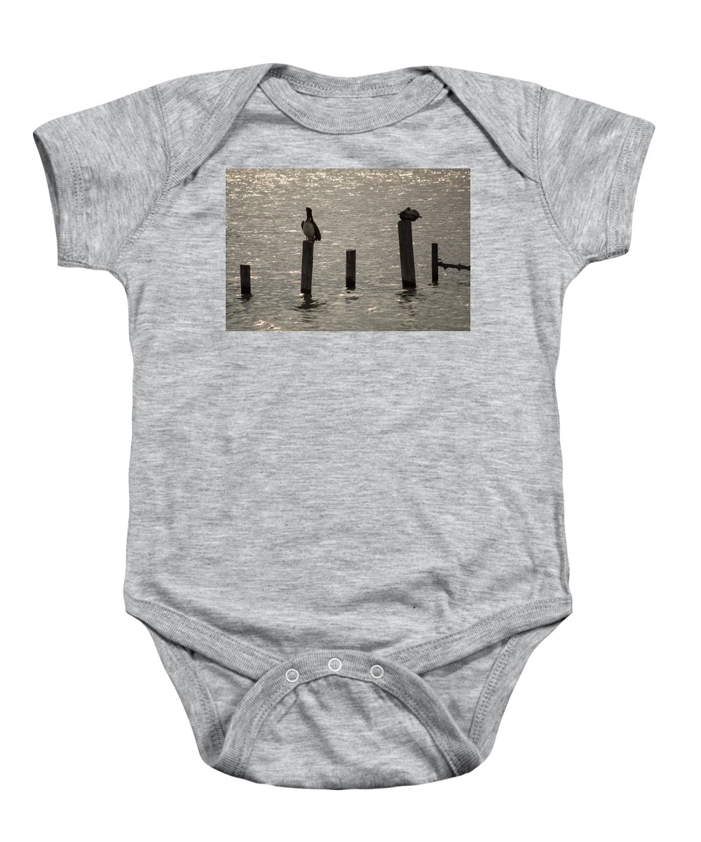 Seadrift Baby Onesie featuring the photograph Seadrift Texas Birds At Rest by JG Thompson