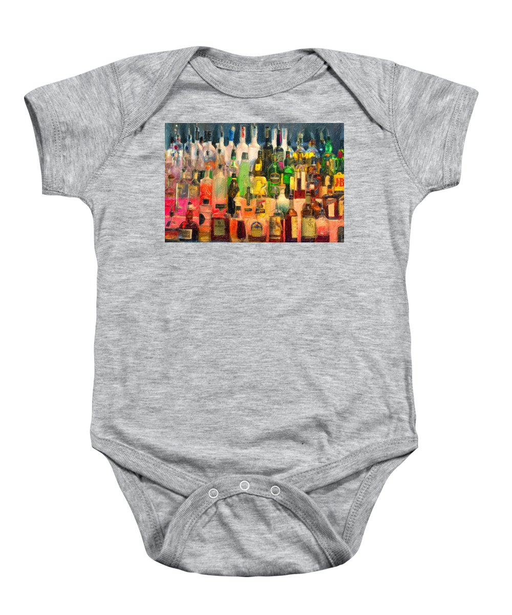 Bar Baby Onesie featuring the painting At The Bar 2 by Angela Stanton