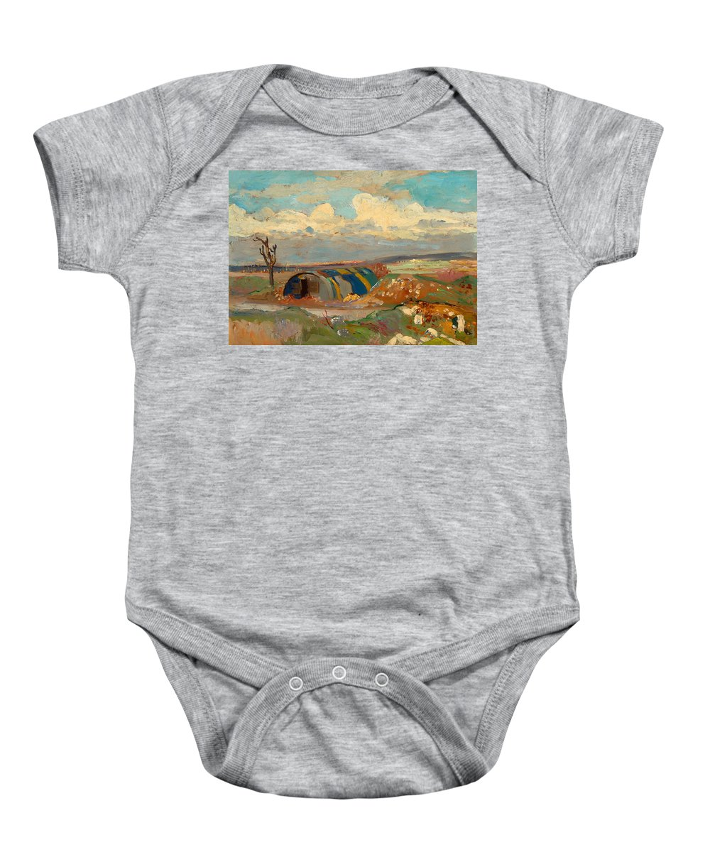 Painting Baby Onesie featuring the painting At The Front by Mountain Dreams