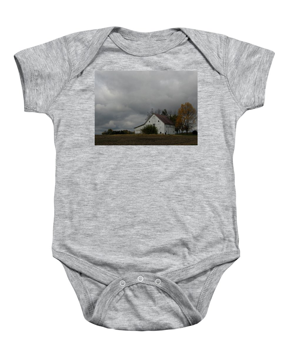 Barn Baby Onesie featuring the photograph Autumn Barn by Dan McCafferty