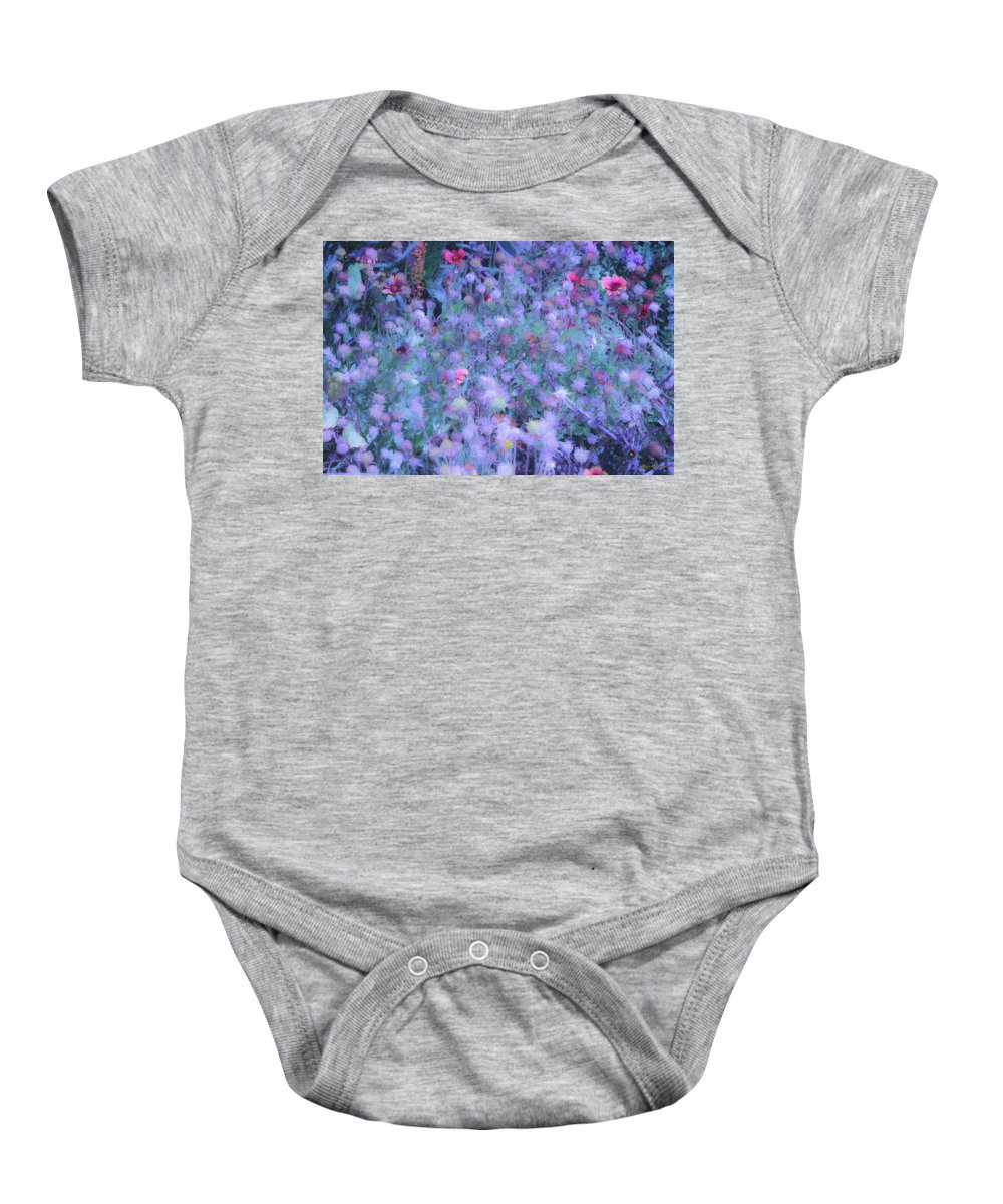 Blue Baby Onesie featuring the photograph Autumn Flowers In Blue by Angela Stanton