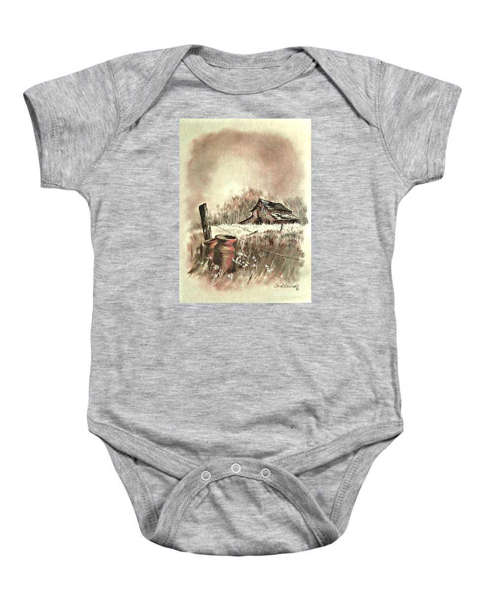 Farmscape Baby Onesie featuring the painting Autumn In View At Mac Gregors Barn by Carol Wisniewski