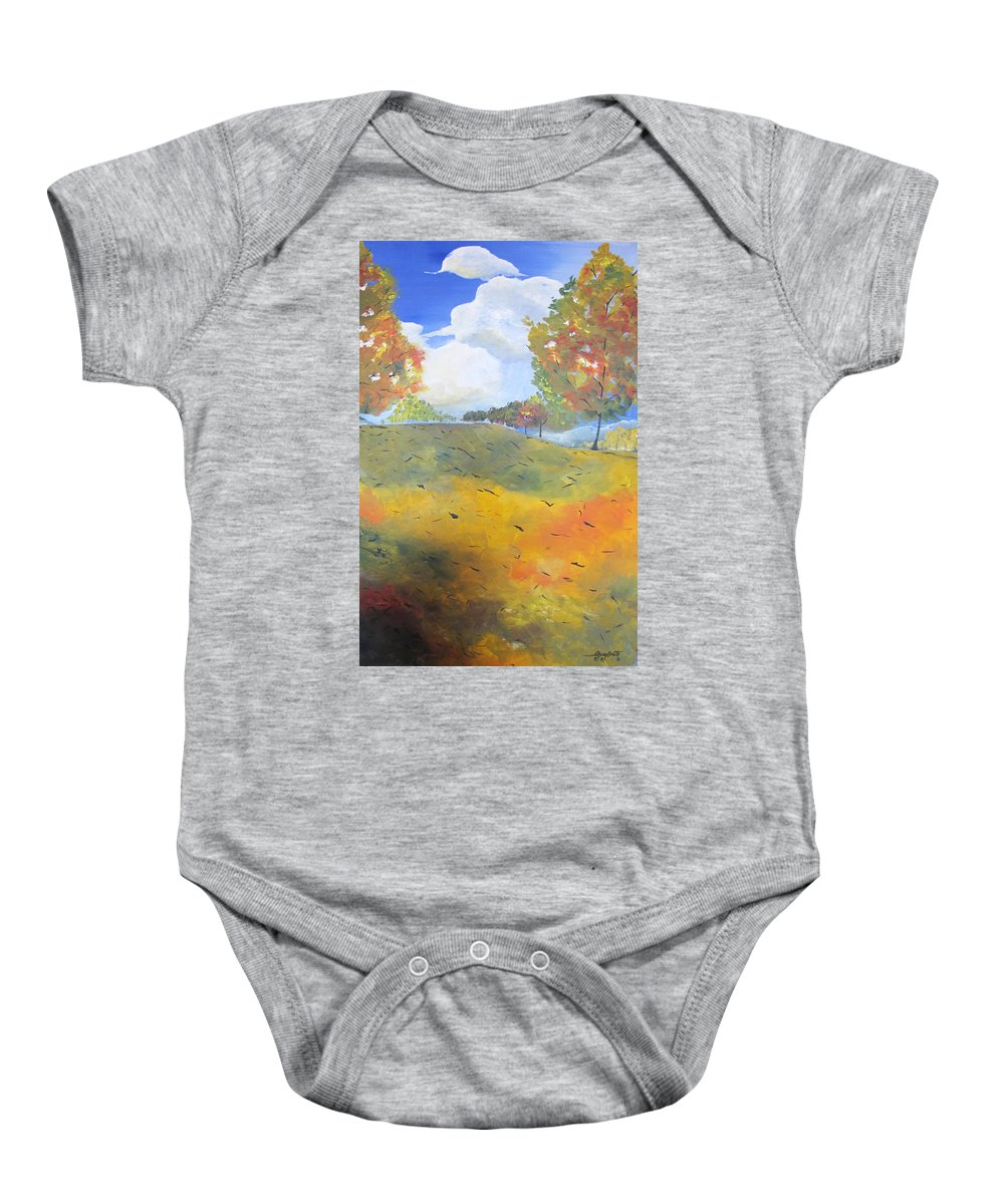 Acrylic Baby Onesie featuring the painting Autumn Leaves Panel 2 Of 2 by Gary Smith