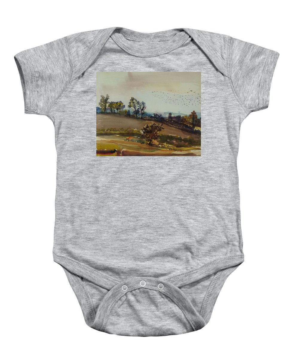 Autumnal Baby Onesie featuring the photograph Autumn Mood, 1980 Wc On Paper by Brenda Brin Booker