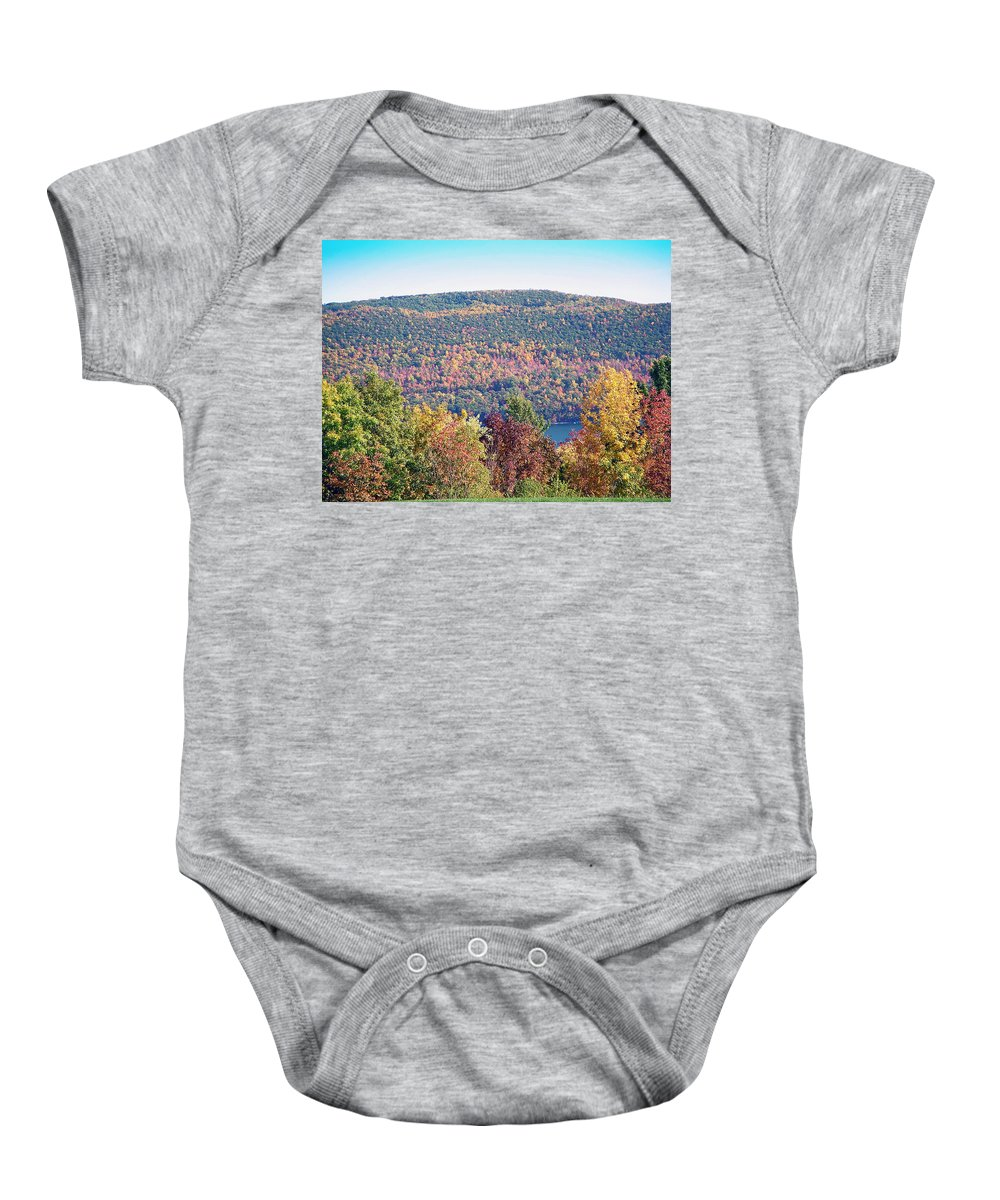 Landscape Baby Onesie featuring the photograph Autumn Mountain by Aimee L Maher ALM GALLERY