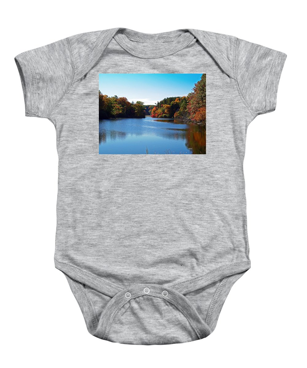 Durhand Eastman Park Baby Onesie featuring the photograph Autumn Waterway by Aimee L Maher ALM GALLERY