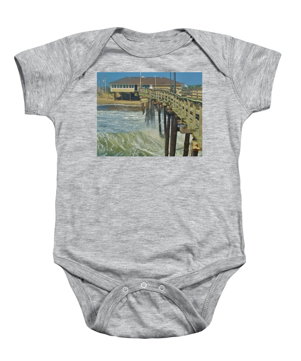Mark Lemmon Cape Hatteras Nc The Outer Banks Photographer Subjects From Sunrise Baby Onesie featuring the photograph Avon Pier 6 10/10 by Mark Lemmon