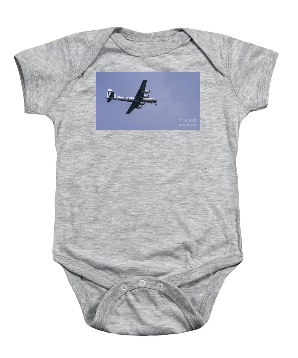 Plane Baby Onesie featuring the photograph b29 by Steven Ralser