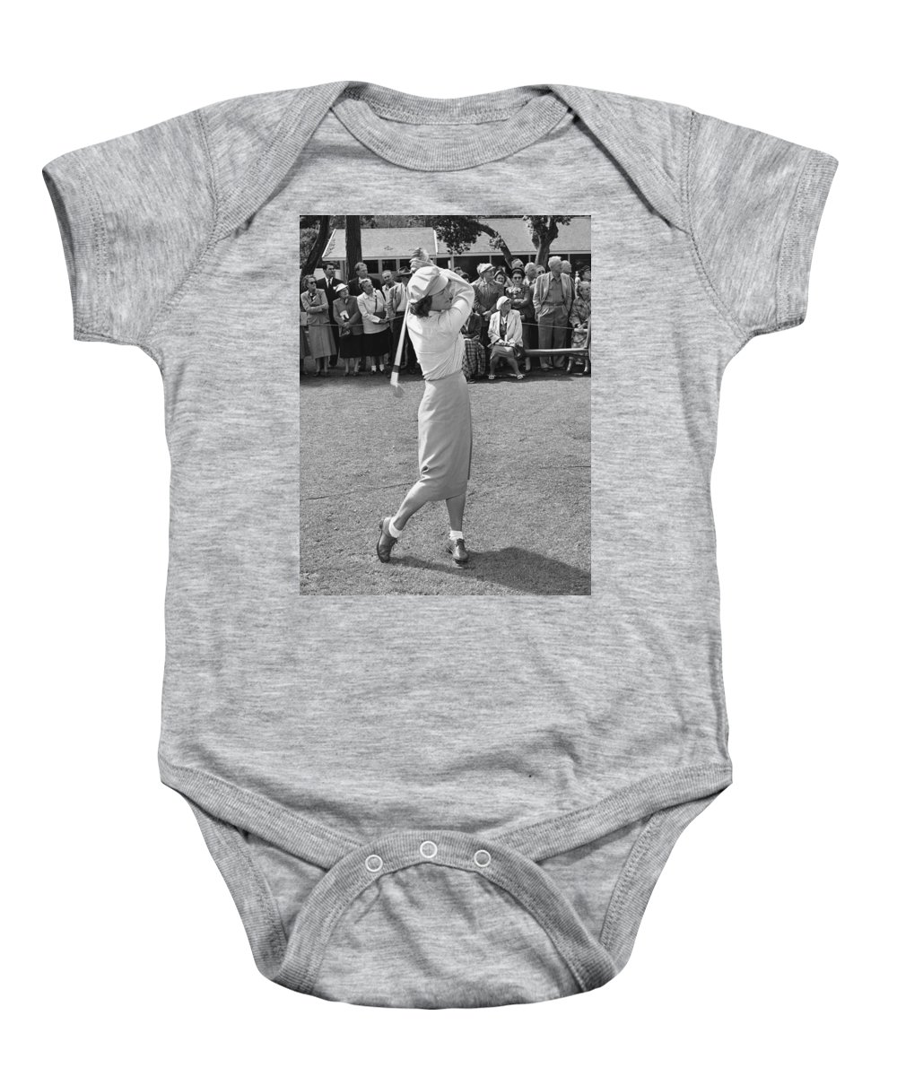 1951 Baby Onesie featuring the photograph Babe Didrikson Teeing Off by Julian Graham