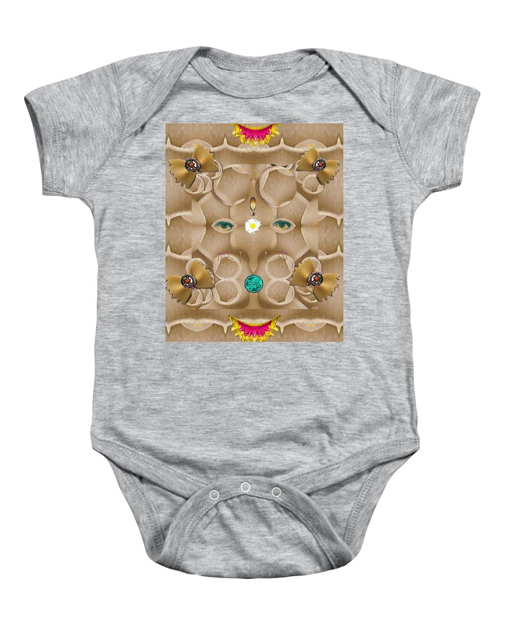 Ganesha Baby Onesie featuring the mixed media Baby Lord Ganesha by Pepita Selles