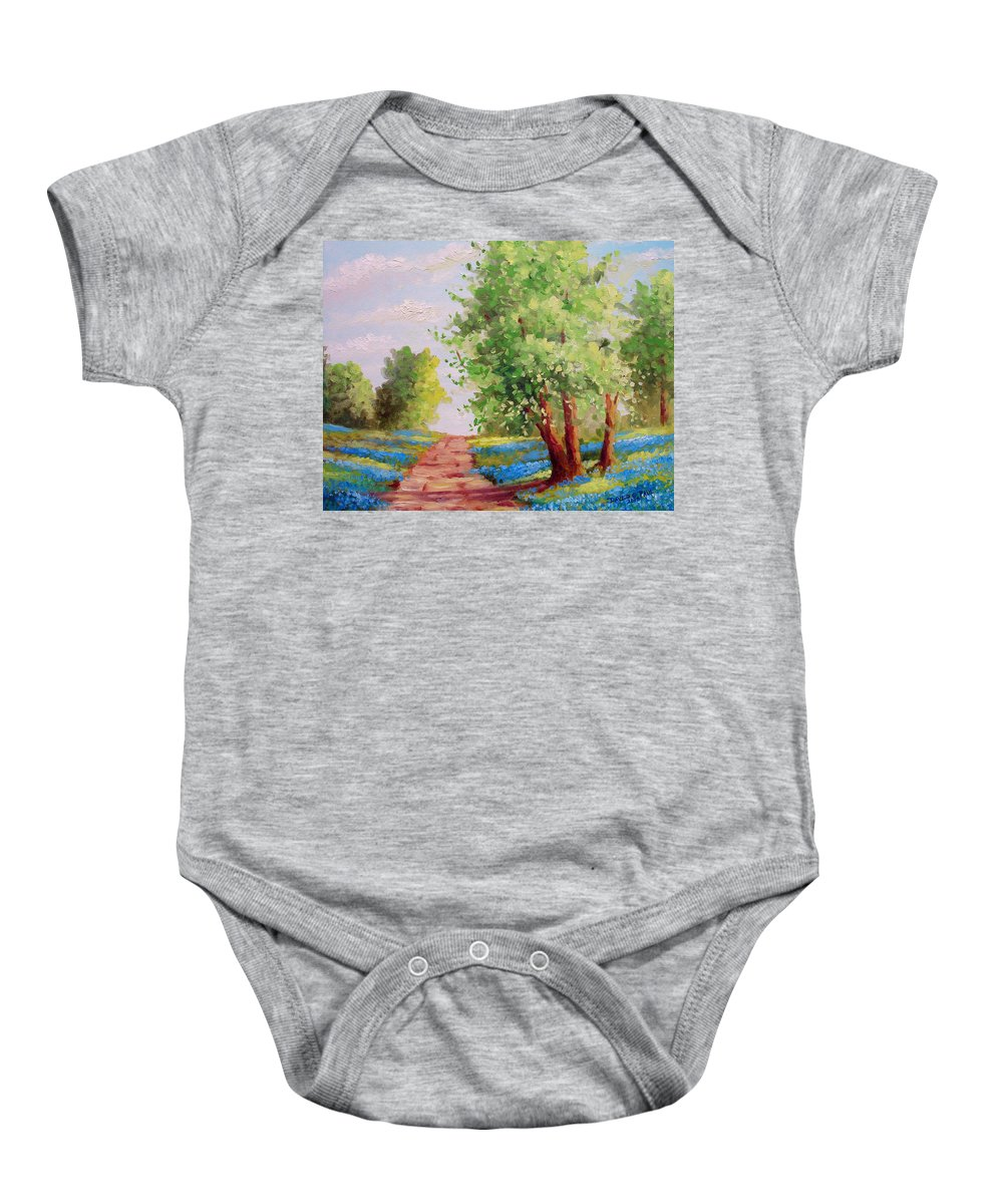 Bluebonnets Baby Onesie featuring the painting Backroad Bluebonnets by David G Paul