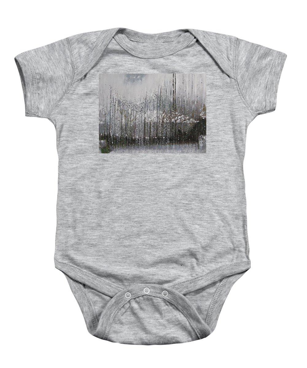 Landscape Baby Onesie featuring the painting Backyard Neighbour by Anne F Marshall