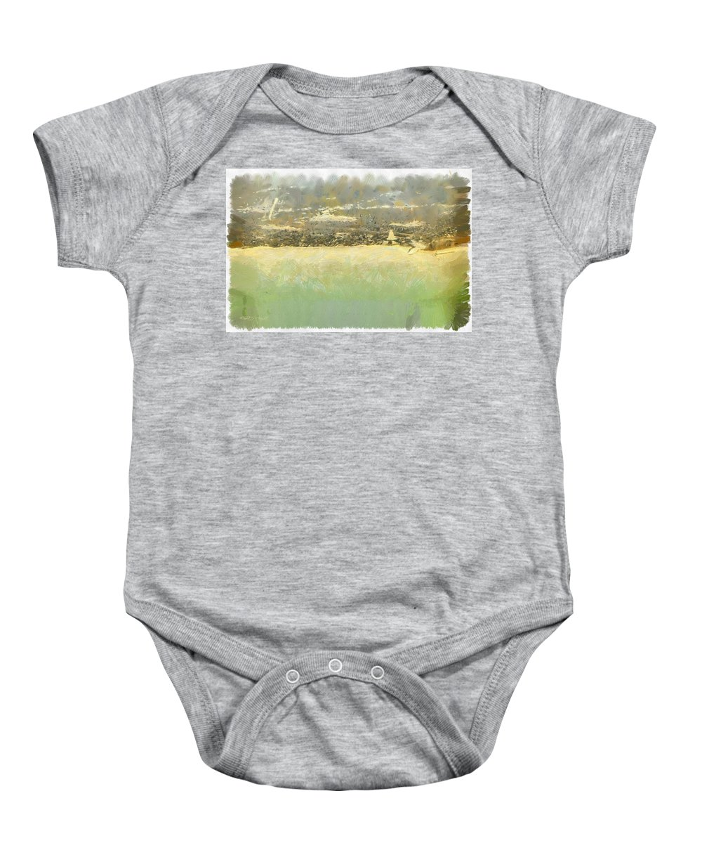 Popular Baby Onesie featuring the photograph Bahai House Of Worship And Lake Michigan Shoreline by Paulette B Wright
