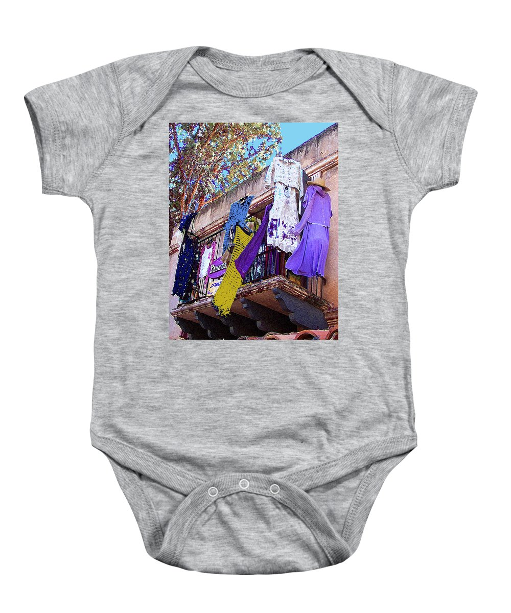 Hanging Clothes Baby Onesie featuring the photograph Balcony by Ben and Raisa Gertsberg