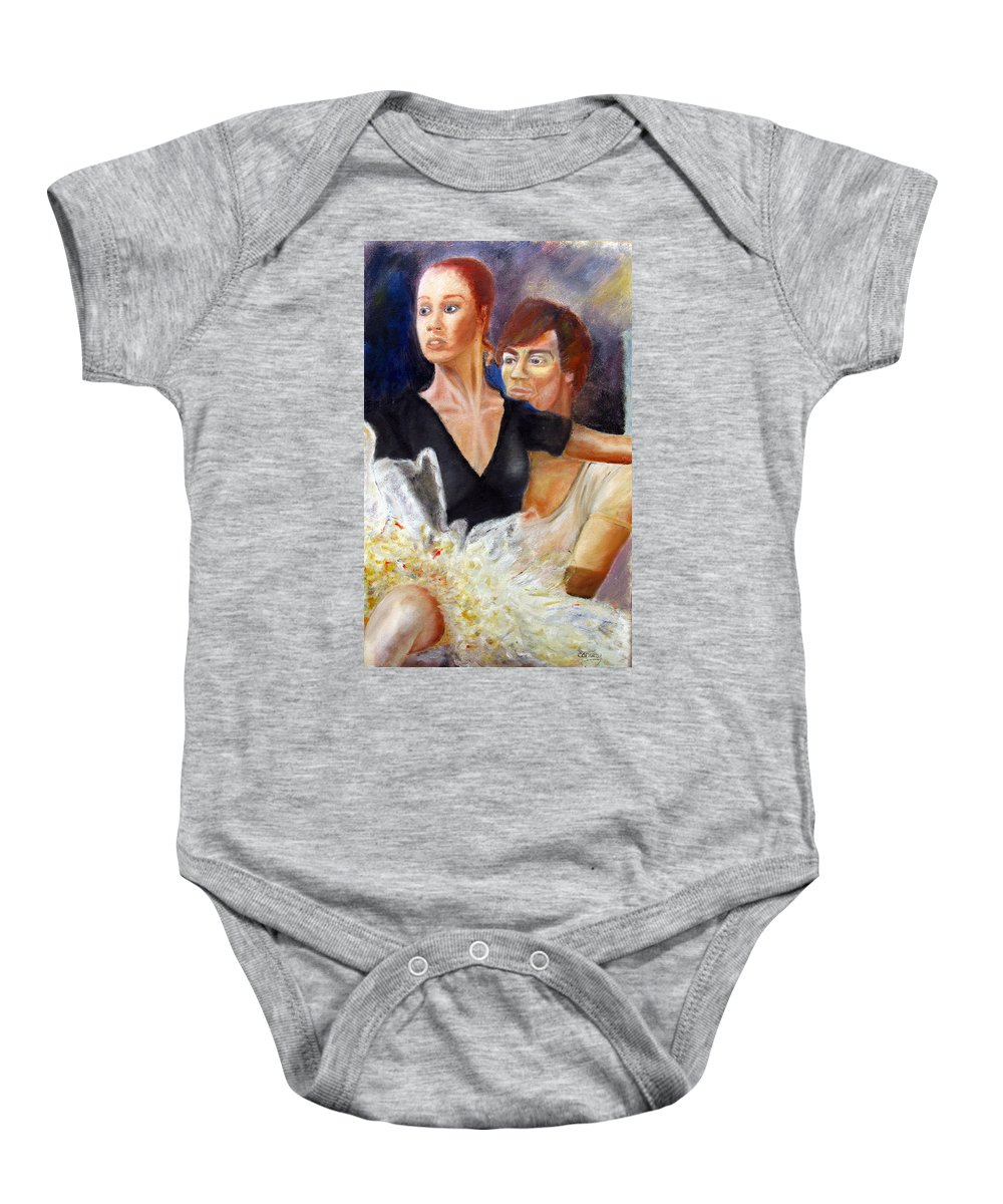 Ballet Baby Onesie featuring the painting Ballet Dancers Rehearse For La Bayadere by Tom Conway