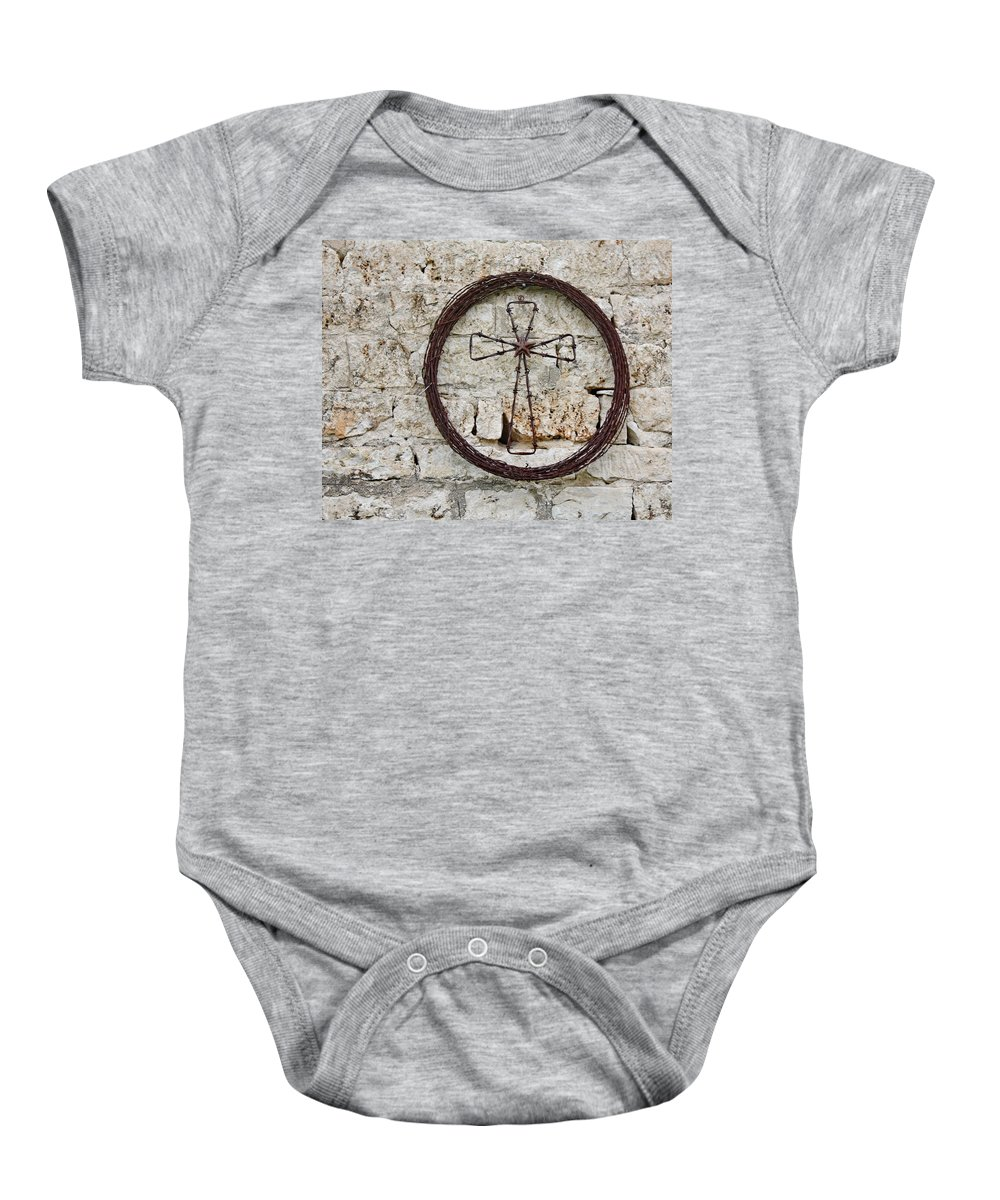 Cross Baby Onesie featuring the photograph Barbed Wire Cross by Terry Fleckney