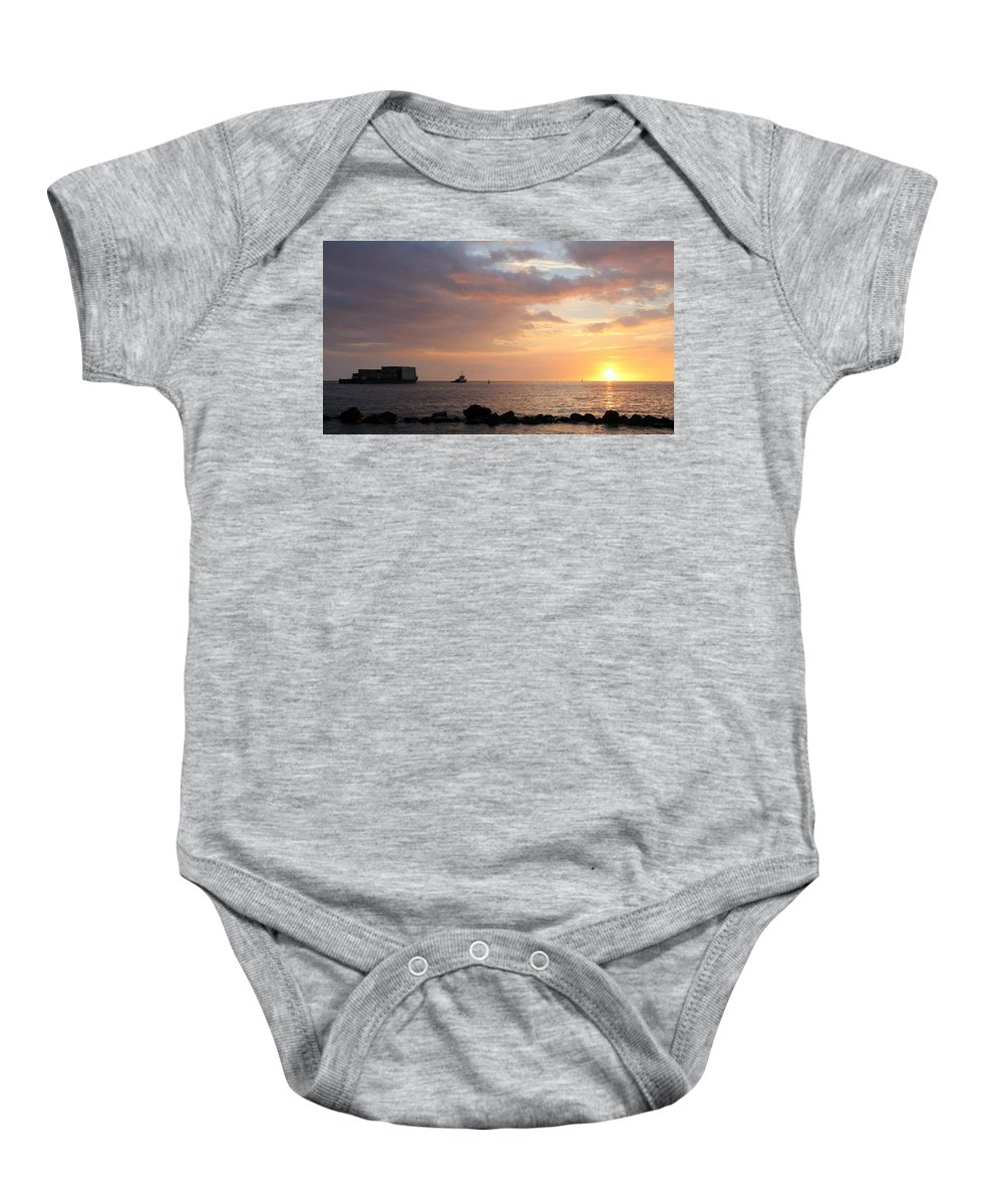 Barge Baby Onesie featuring the photograph Barge Into The Sunset by Pamela Walton