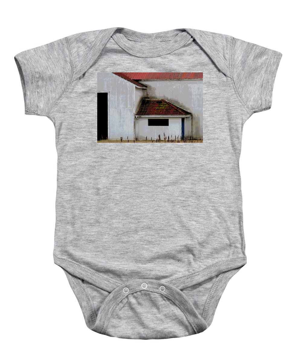 Barn Baby Onesie featuring the photograph Barn - Geometry - Red Roof by Marie Jamieson