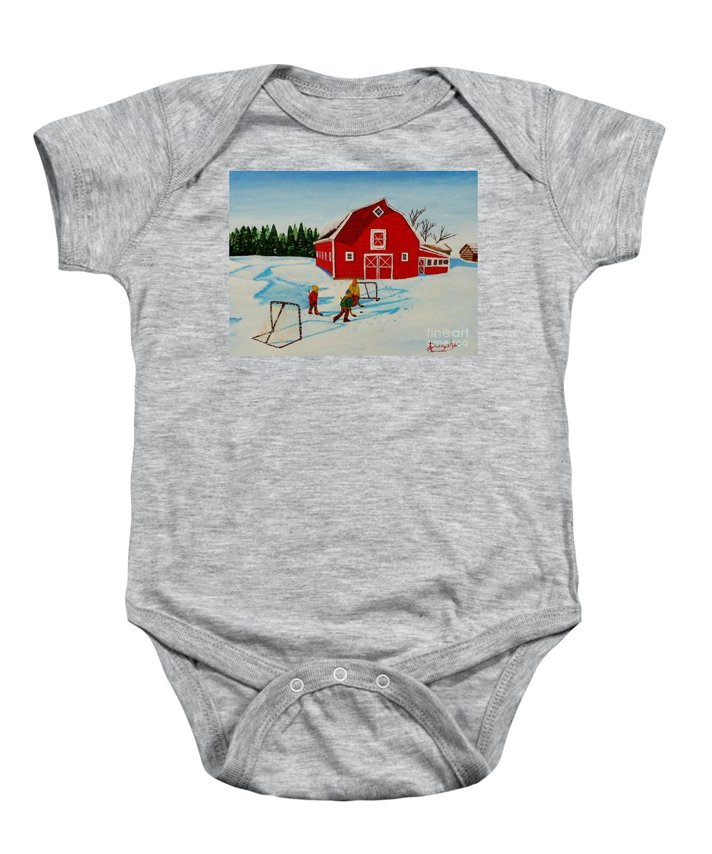 Hockey Baby Onesie featuring the painting Barn Yard Hockey by Anthony Dunphy
