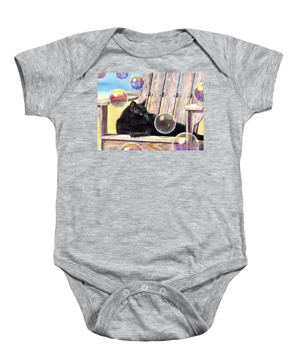 Cat Baby Onesie featuring the painting Basking In Bubbles by Catherine G McElroy