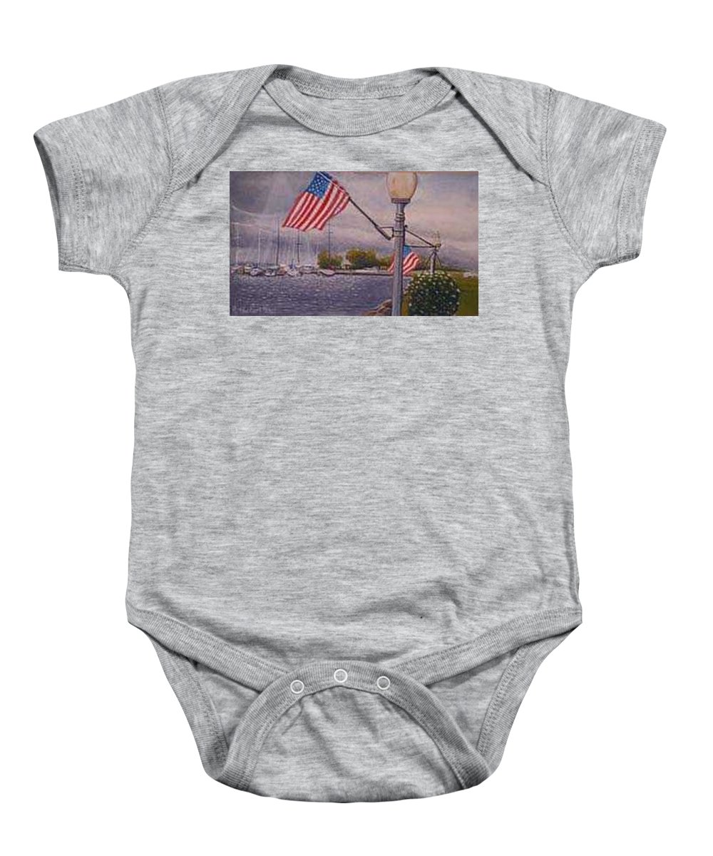 Rick Huotari Baby Onesie featuring the painting Bayfield On The 4th by Rick Huotari