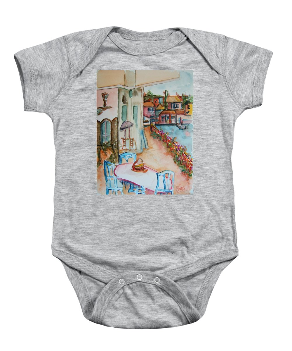 Bayside Baby Onesie featuring the painting Bayside Bistro by Elaine Duras