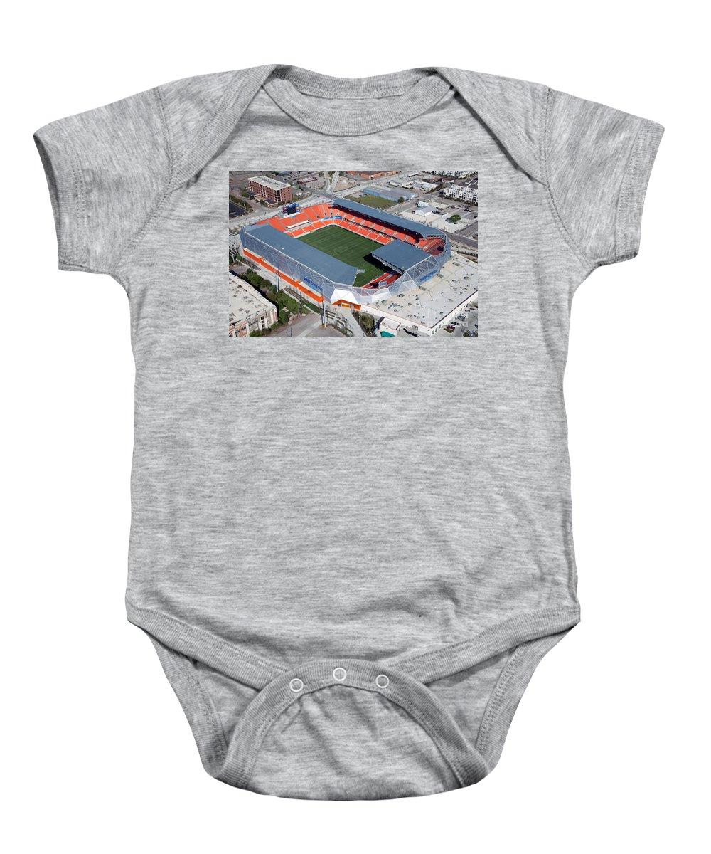 Bbva Baby Onesie featuring the photograph Bbva Compass Stadium In Houston by Bill Cobb