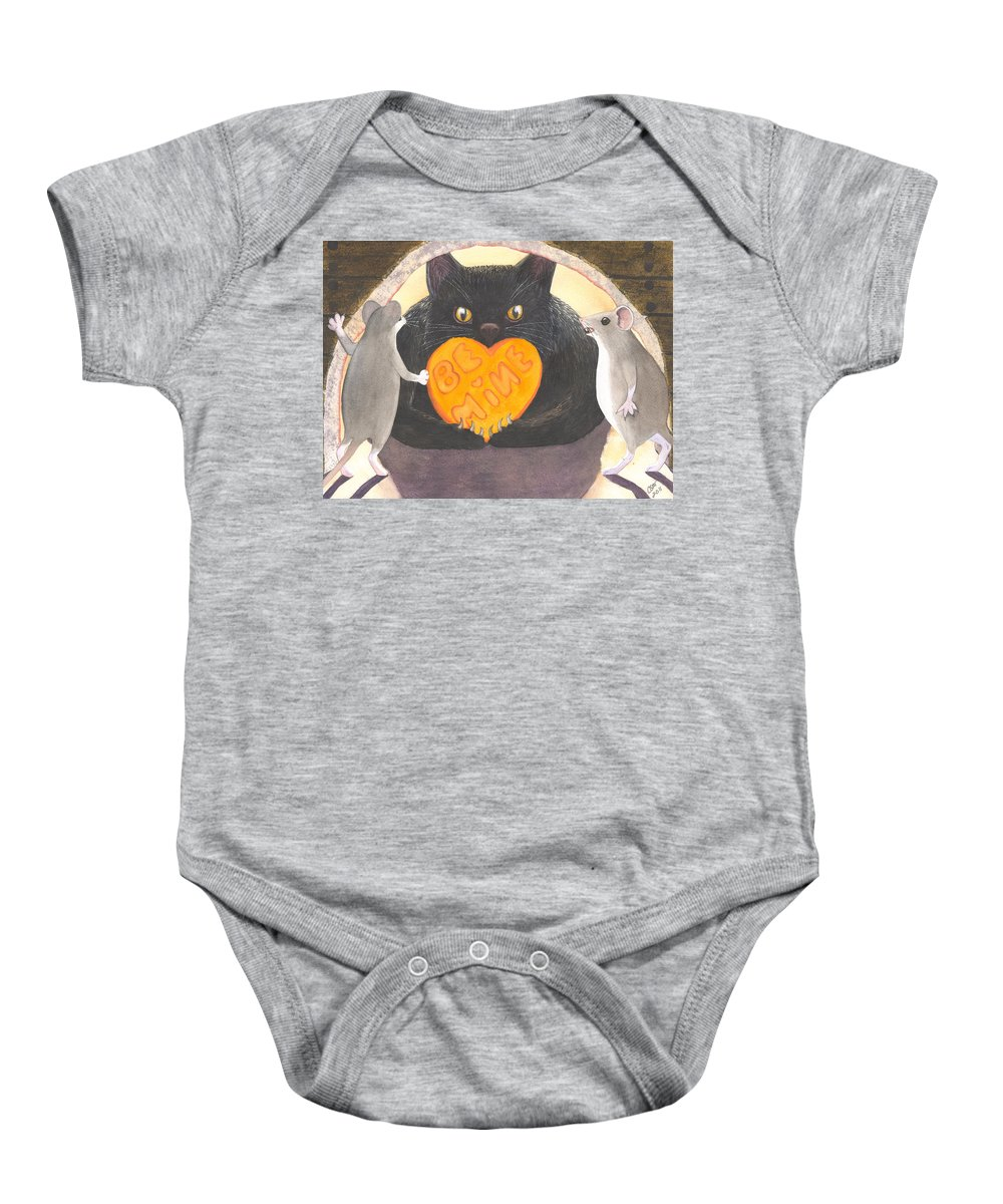 Cat Baby Onesie featuring the painting Be Mine by Catherine G McElroy