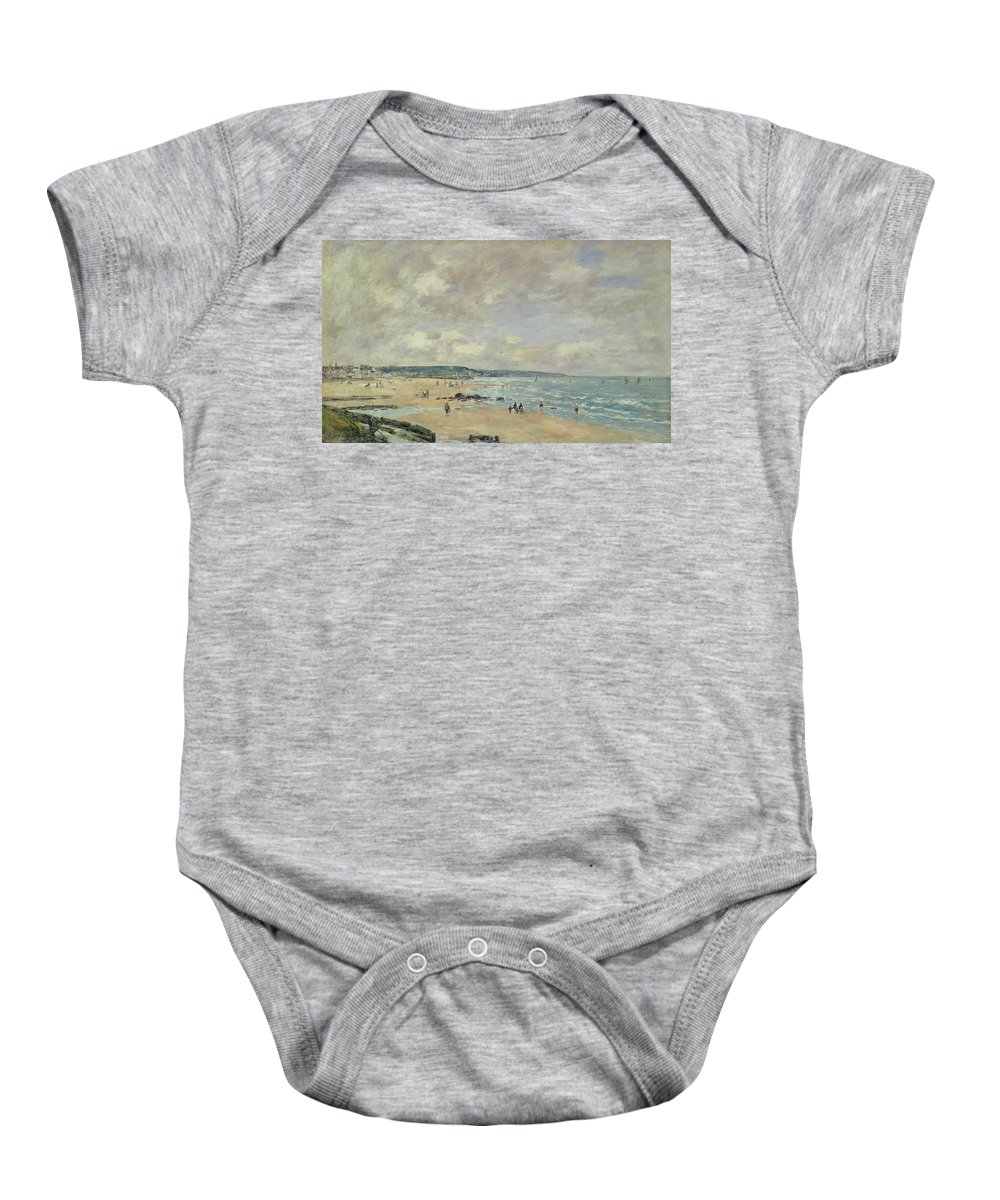 Impressionist Baby Onesie featuring the painting Beach At Trouville by Eugene Louis Boudin