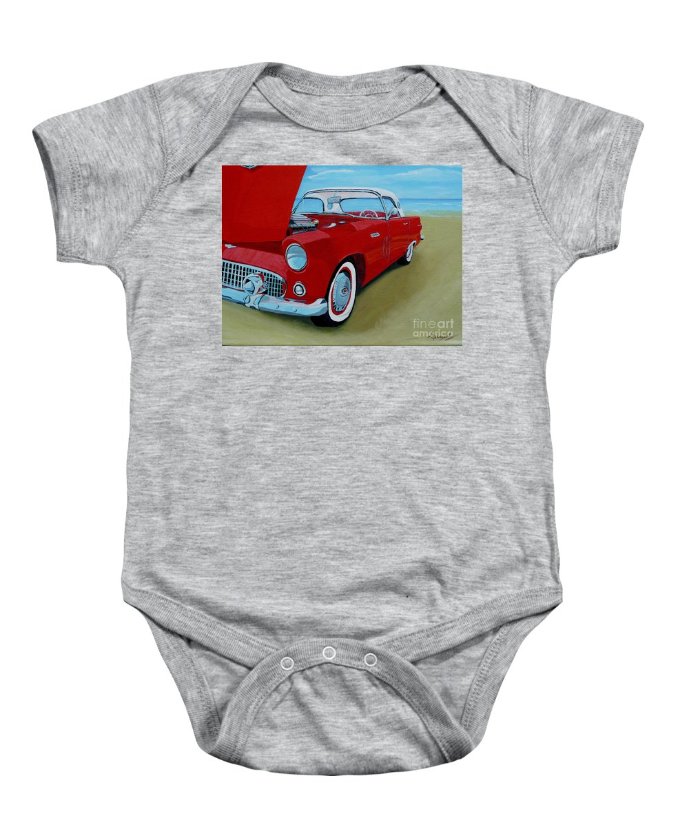 Car Baby Onesie featuring the painting Thunder Bird by Anthony Dunphy