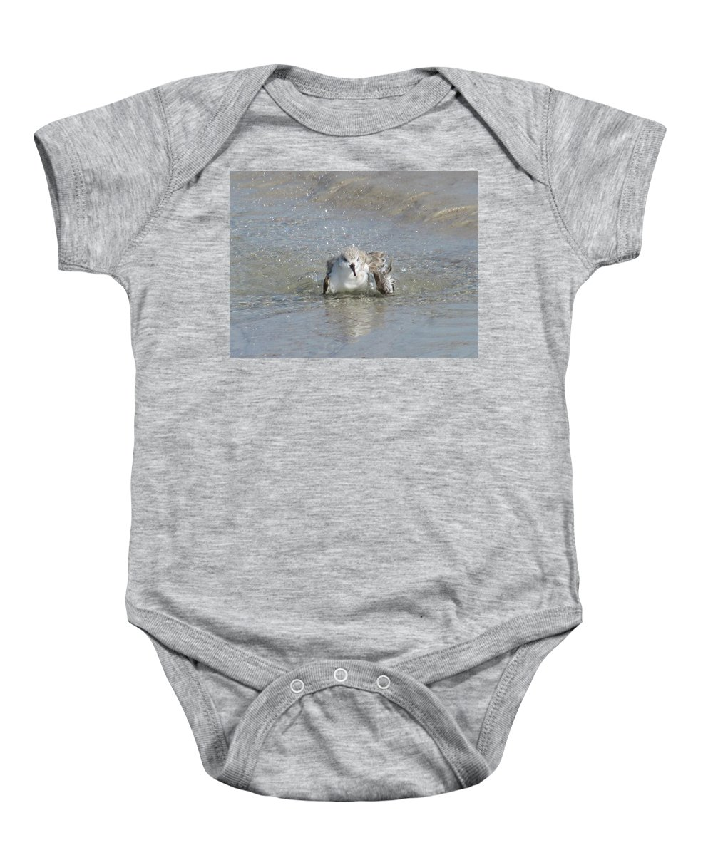 Landscape Baby Onesie featuring the photograph Beach Bird Bath 2 by Ellen Meakin