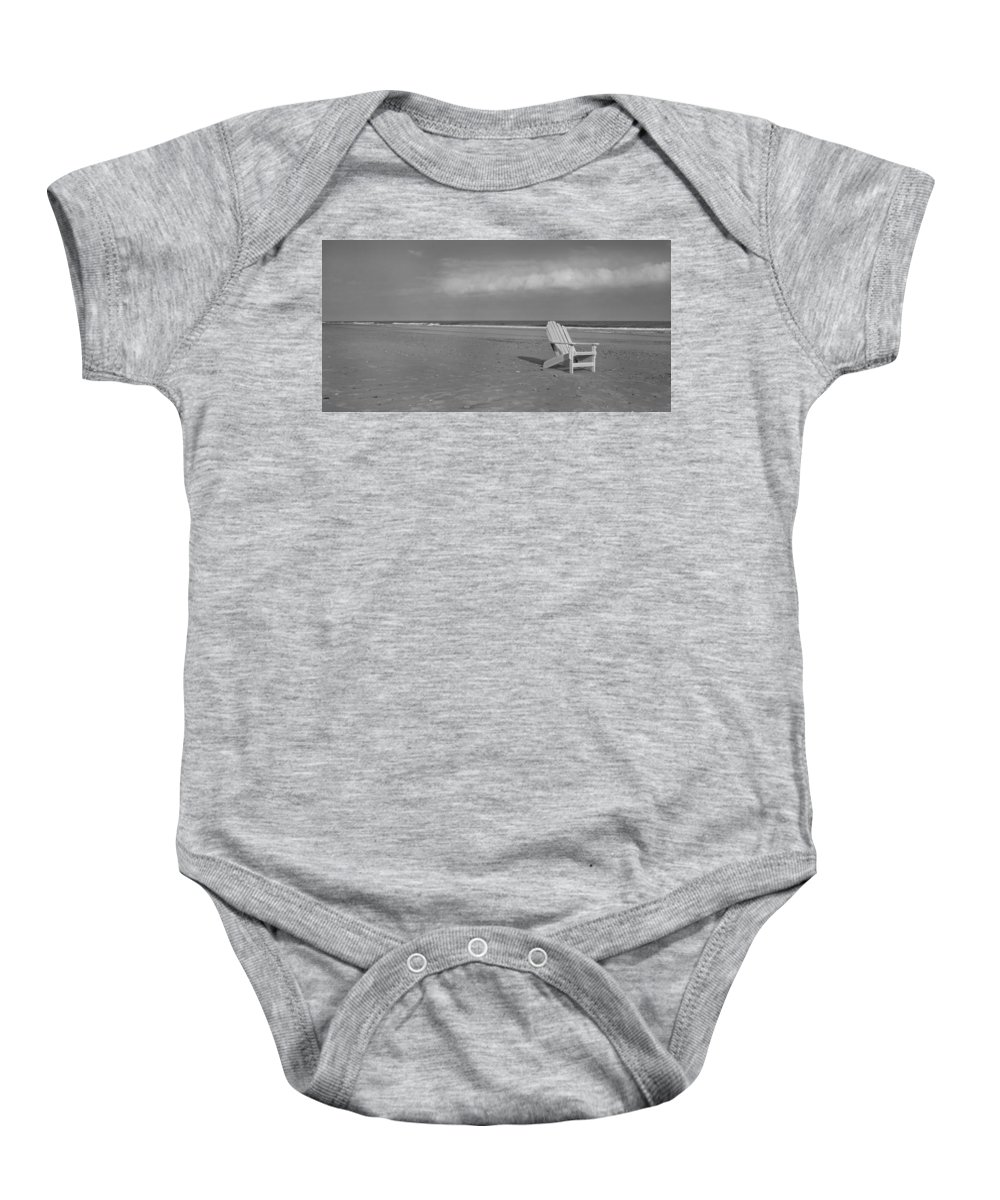 Adirondack Baby Onesie featuring the photograph Beach Chair by Betsy Knapp