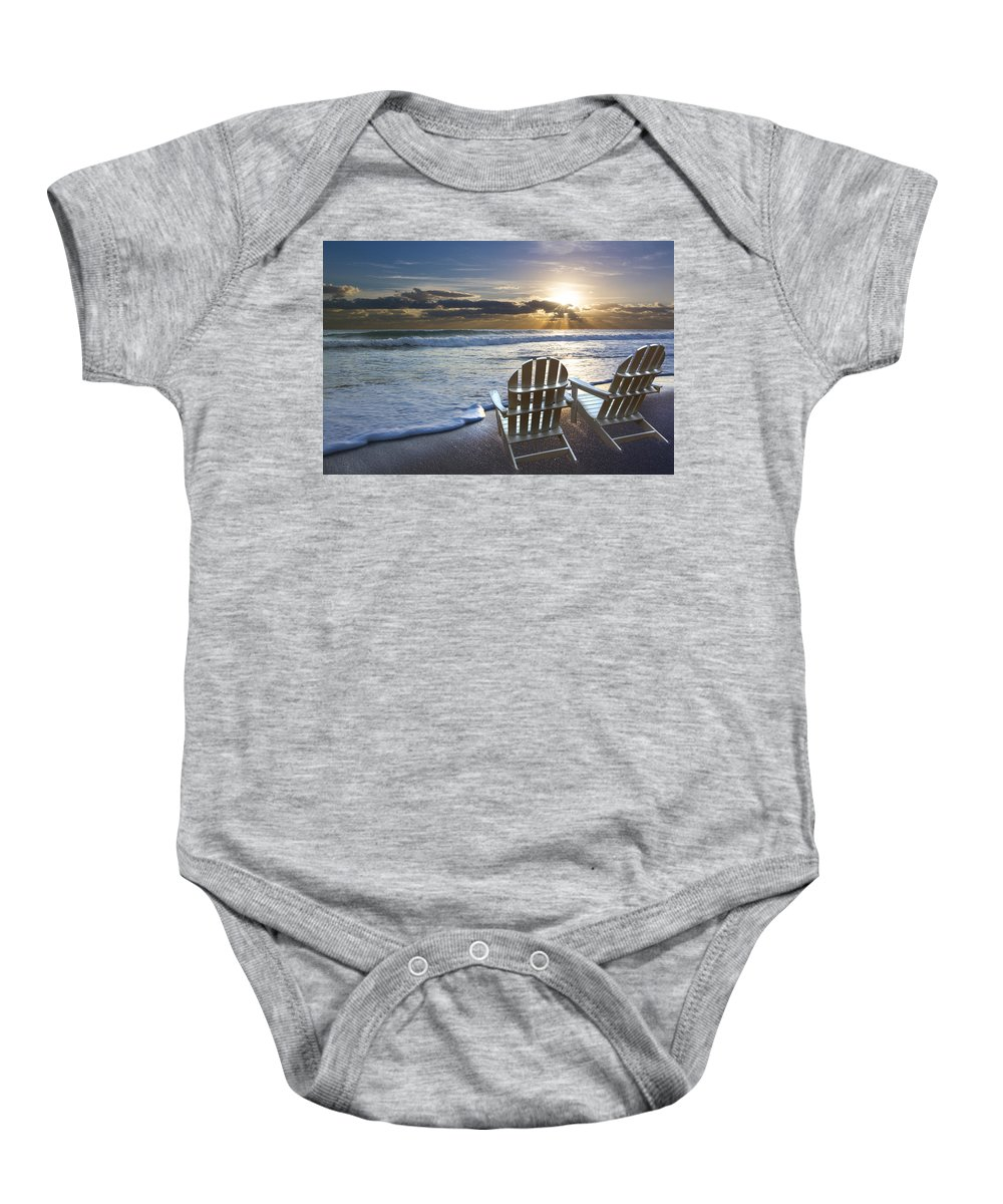 Clouds Baby Onesie featuring the photograph Beach Chairs by Debra and Dave Vanderlaan