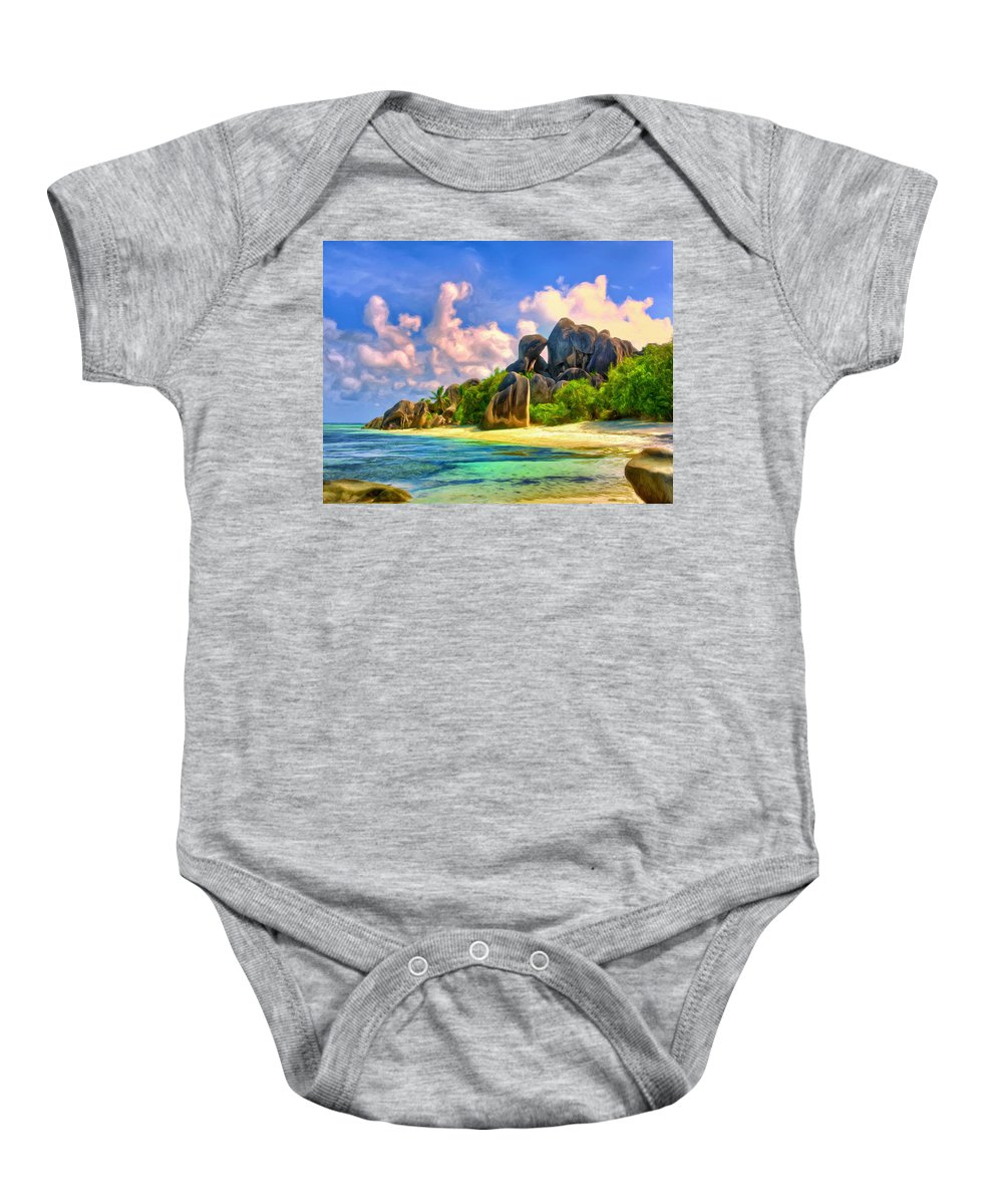 Beach Baby Onesie featuring the painting Beach Cove On La Digue by Dominic Piperata