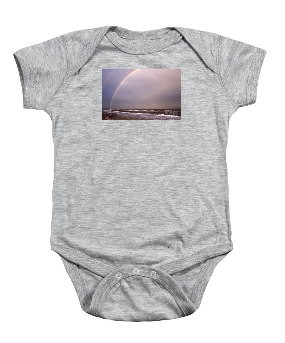 Maritime Baby Onesie featuring the photograph Beach Lights by Skip Willits